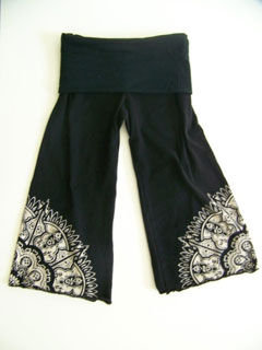 silk black pants
